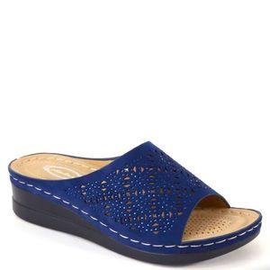 Italina Navy Blue Detail Rhinestone Wedge Sandal
